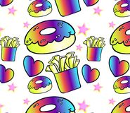 Fast food seamless pattern - burger and potato neon Royalty Free Stock Image