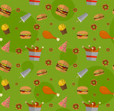 Fast food seamless pattern design. Flat style elements. Illustra. Tion of unhealthy food, diet or restaurant menu elements. Hamburger, cheeseburger, fried Royalty Free Stock Images