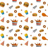 Fast food seamless pattern design isolated on white. Illustratio. N of Flat style unhealthy food, diet or restaurant menu elements. Hamburger, cheeseburger Stock Photo
