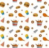 Fast food seamless pattern design isolated on white. Illustratio Stock Photo