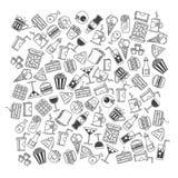 Fast food, seamless pattern vector illustration