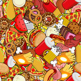 Fast Food seamless pattern. Feed ornament. meat background. Pizz. A and taco. French fries and hamburger. Hotdog and cookies. Baked turkey and watermelon. Pork Stock Photography