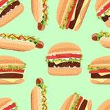 Fast Food seamless pattern hamburger and Hot Dog Royalty Free Stock Images