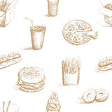 Fast food seamless pattern Stock Photo