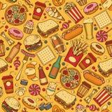 Fast Food seamless pattern Stock Photo