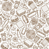 Fast Food seamless pattern Royalty Free Stock Images
