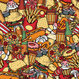Fast Food seamless pattern Stock Photos