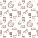Fast food seamless pattern. Hand drawn food background. Backgrou Stock Photo