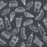 Fast food seamless pattern. Hand drawn food background. Backgrou Stock Photography