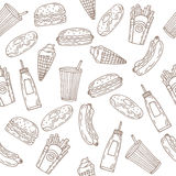 Fast food seamless pattern. Hand drawn food background. Backgrou Stock Photos