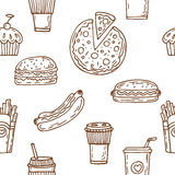 Fast food seamless pattern. Hand drawn food background. Hot dog, Stock Photography