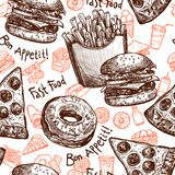 Fast Food Seamless Pattern Stock Images