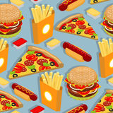 Fast food seamless pattern. Hot dog background. Juicy big hambur Stock Photo