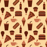 Fast food seamless pattern Stock Photos