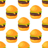 Fast food seamless pattern natural menu restaurant fresh product and kitchen cartoon meal hamburger vector illustration. Royalty Free Stock Image