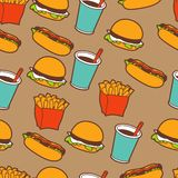 Fast food seamless pattern in retro style Stock Photo