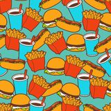 Fast food seamless pattern in retro style Stock Photography