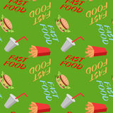 Fast food seamless pattern with sandwiches french fries, soda Royalty Free Stock Photos