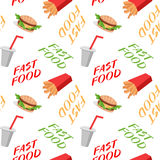 Fast food seamless pattern with sandwiches french fries, soda Stock Photo