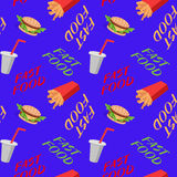 Fast food seamless pattern with sandwiches french fries, soda Stock Photography