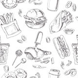 Fast Food Seamless pattern. Sketches. Vintage illustration for identity, design Royalty Free Stock Images