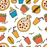 Fast food seamless pattern. Vector hand draw illustration Stock Photography