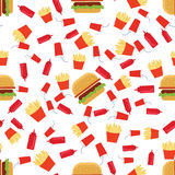 Fast food seamless pattern. On white background Royalty Free Stock Images