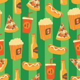 Fast food seamless vector pattern. Snack food and drinks Background with hand draw pizza, hot dog, popcorn, beer, cup. Doodle vector illustration