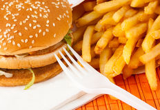 Fast food set. Of fried potatoes and burger Royalty Free Stock Images