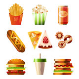 Fast Food Set. Vector collection of fast food dishes Stock Photos