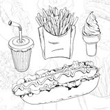 Fast food set. Vector hand drawn fast food set on abstract background Royalty Free Stock Image