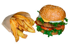 Fast food set big hamburger and french fries Stock Photos