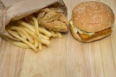 Fast food set big hamburger Royalty Free Stock Photography