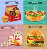 Fast food set with burger, hot dog, and french fries. Vector realistic 3d illustrations. Fast food set with burger, hot dog, and french fries. Vector realistic Stock Photos