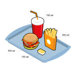 Fast food set. Calorie dishes. Big fresh hamburger. Delicious Fr Stock Image