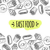 Fast food. Set of cartoon vector background. French fries, hamburger, sweet potato fries, hot dog icecream Royalty Free Stock Photography