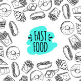Fast food. Set of cartoon vector background. French fries, hamburger, sweet potato fries, hot dog icecream Stock Photos