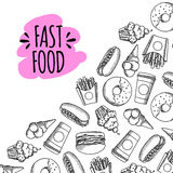 Fast food. Set of cartoon vector background. French fries, hamburger, sweet potato fries, hot dog icecream Stock Photography
