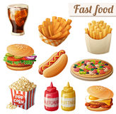 Fast food. Set of cartoon vector food icons isolated on white background. Ketchup, mustard, glass of cola, french fries, hamburger, sweet potato fries, burger Royalty Free Stock Images
