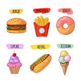 Fast food. Set of cartoon vector icons. Fast food. Set of cartoon vector food icons. french fries, hamburger, sweet potato fries, hot dog, icecream Royalty Free Stock Photos