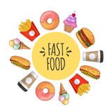 Fast food. Set of cartoon vector icons. Fast food. Set of cartoon vector food icons. french fries, hamburger, sweet potato fries, hot dog, icecream Royalty Free Stock Images