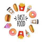 Fast food. Set of cartoon vector icons. Fast food. Set of cartoon vector food icons. french fries, hamburger, sweet potato fries, hot dog, icecream Royalty Free Stock Photography