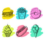 Fast food. Set of cartoon vector icons. Fast food. Set of cartoon vector food icons. french fries, hamburger, sweet potato fries, hot dog, icecream Stock Photo