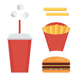 Fast food set, collection isolated on white background. French fries, soda, cheeseburger Stock Image