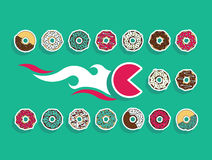 Fast food set donut. Flat  set of sweet fast food. Easy recolor Stock Images