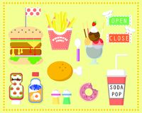 The fast food set. With banner in yellow background stock illustration