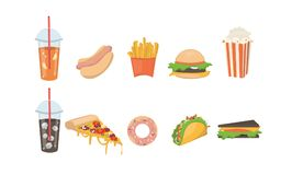 Fast food set. Stock Images