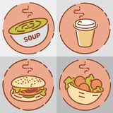 Fast food set, flat design. Soup, coffee, hamburger and falafel. Vector illustrations Stock Images
