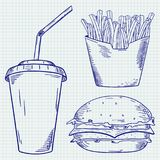 Fast food set. French fries, burger and paper cup drink. Blue outline hand drawn sketch. Vector illustration Stock Photo