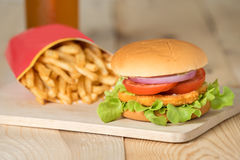 Fast food set hamburger and french fries. Stock Photography